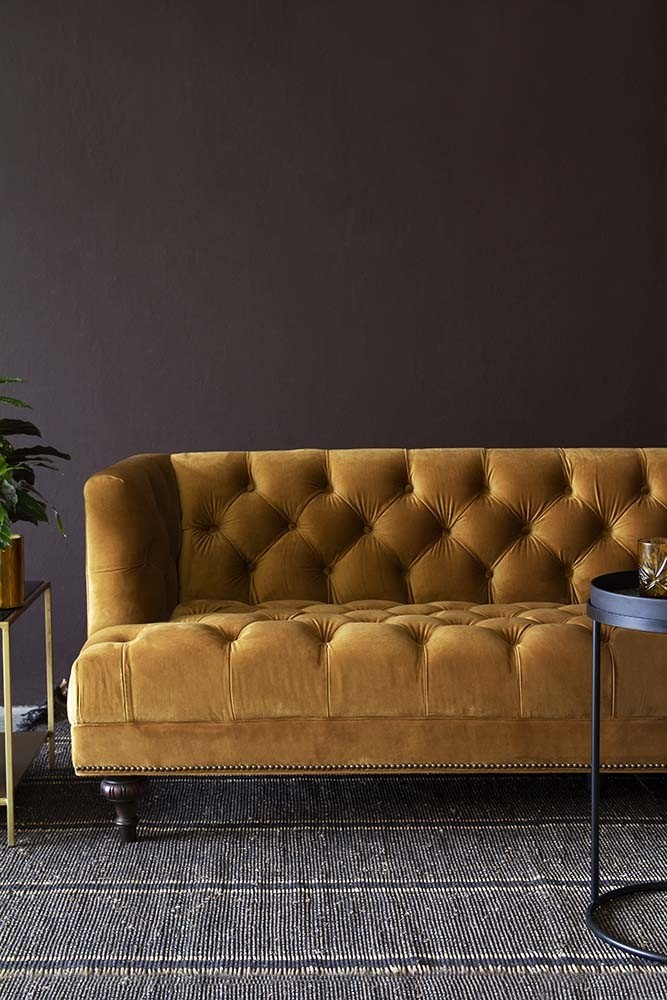 Rockett St George Ochre Gold Velvet Chesterfield Sofa