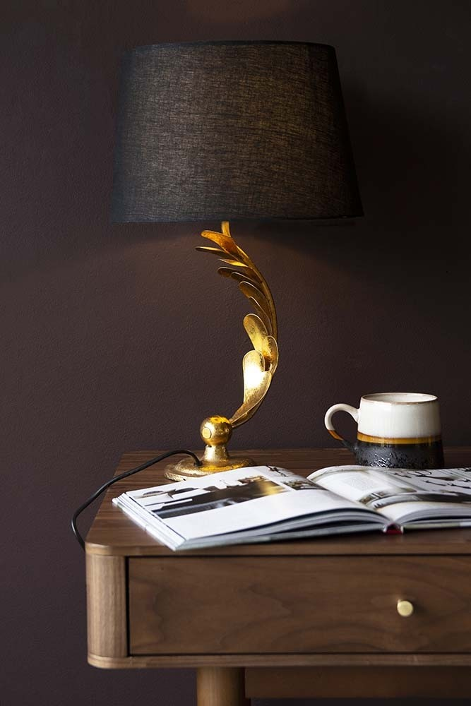 Rockett St George Gold Curved Leafy Stem Table Lamp