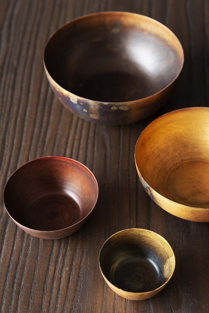Rockett St George Set of 4 Rustic Oxidised Metal Bowls