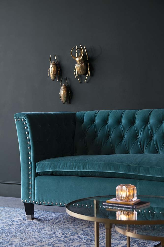Rockett St George Teal Velvet Chesterfield Sofa with Stud Detail