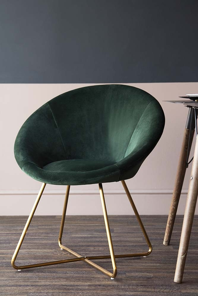 Rockett St George The Grand Velvet Circular Dining Chair - Rich Green