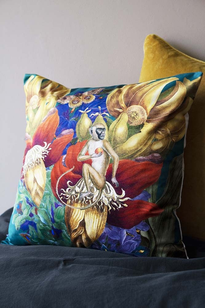 Rockett St George Vibrant Jungle Velvet Cushion