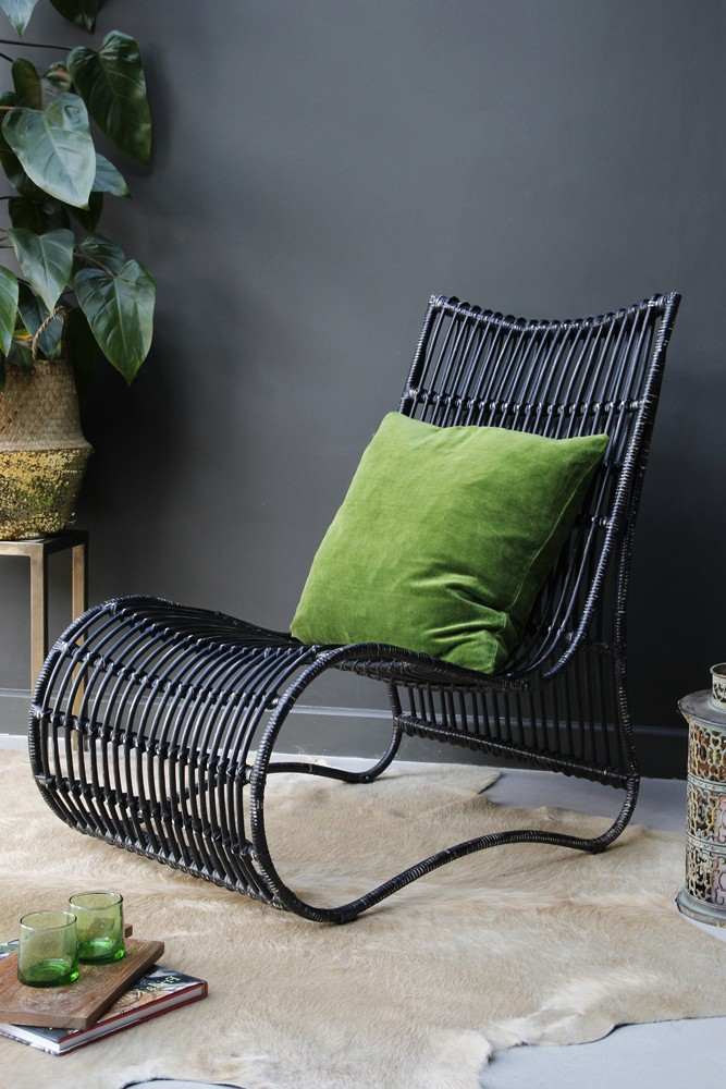 Rockett St George Black Rattan Lounge Chair