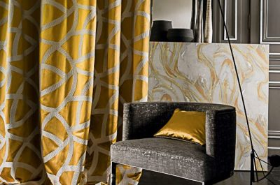 gold and charcoal furnishings