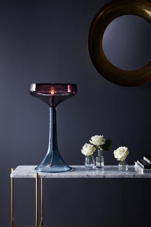 glass lamp blue purple