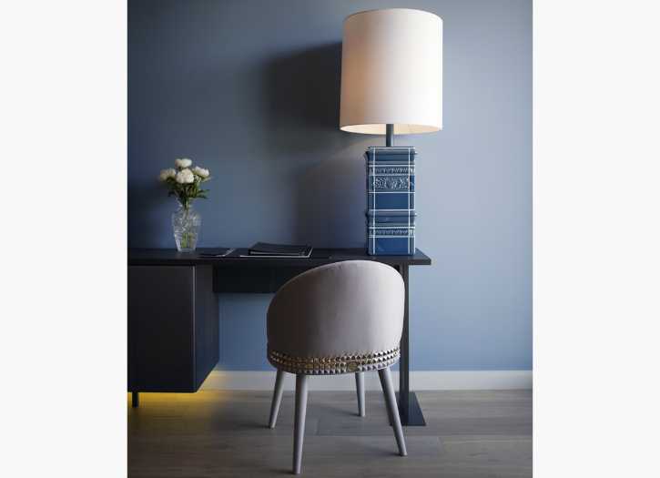 bold blue pottery lamp