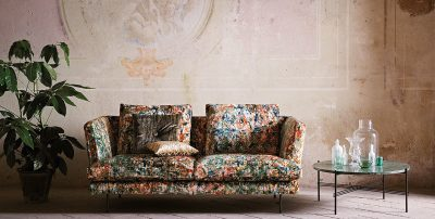 splatter pattern upholstered sofa