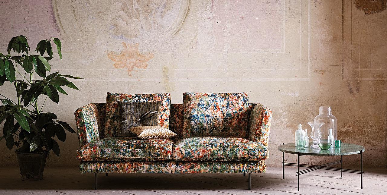 splatter pattern upholstered sofa
