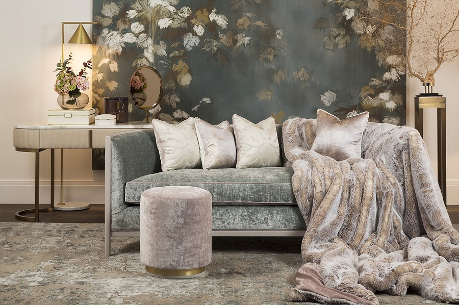 sofa dressed with throw